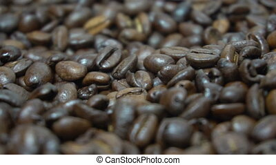 Closeup of coffee beans surface - Closeup of coffee bean...