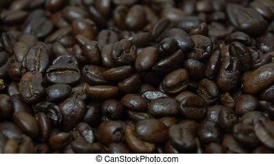 Closeup of coffee beans surface - Closeup of coffee bean...
