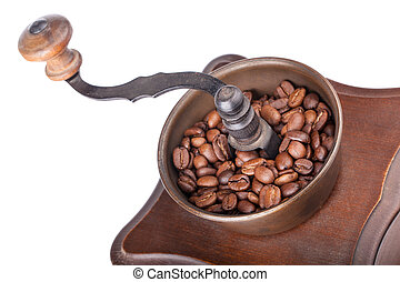 Closeup of coffee grinder with coffee