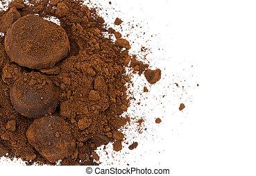 Closeup of coffee ground on white background
