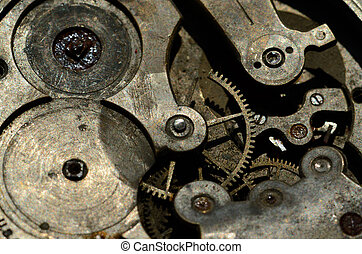 Closeup of cogweels in clockwork, grunge background for...