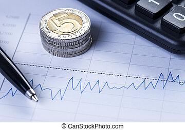 Closeup of coins and diagram