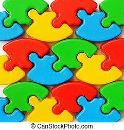 Closeup of colored puzzles