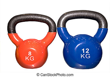 Closeup of colorful dumbbells in a gym or studio
