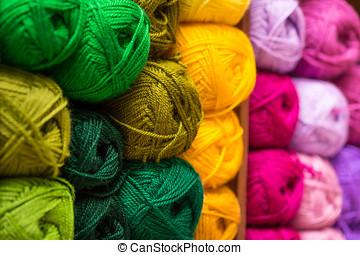 closeup of colorful wool yarn balls