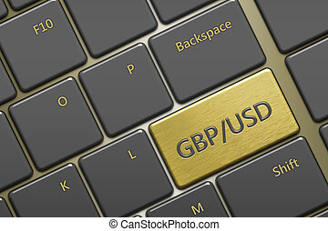 computer keyboard with currency pair: gbp/usd button