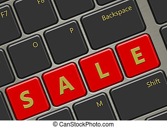 computer keyboard with sale buttons