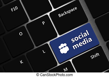 computer keyboard with social media button