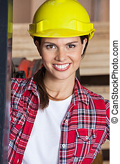 Closeup Of Confident Engineer Wearing Hardhat