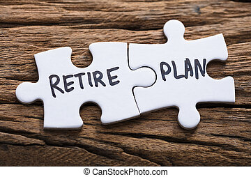 Closeup Of Connected Retire Plan Jigsaw Pieces