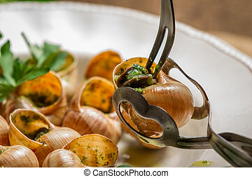 Closeup of consume snails fried in garlic sauce