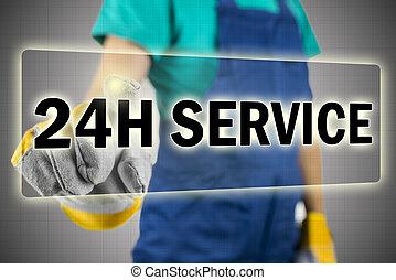 Closeup of contractor choosing 24h service button on virtual screen.