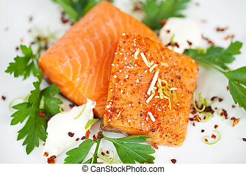 Closeup Of Cooked Salmon Slices In Plate - Closeup of cooked...