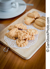 Closeup of cookie on chopping board