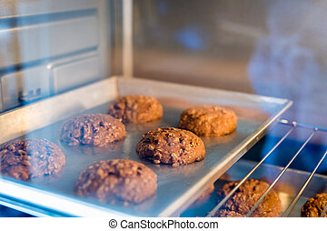 Closeup of cookie on tray in a oven