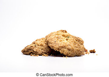 closeup of cookies in a isolated white background