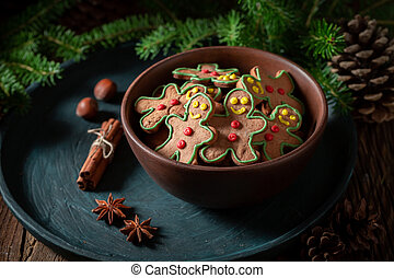 Closeup of cookies in brown bowl for Christmas