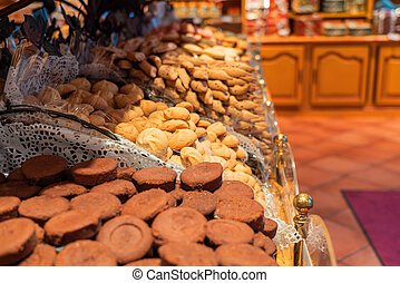 Closeup of cookies in candy and biscuit shop on Montmartre, Paris, France