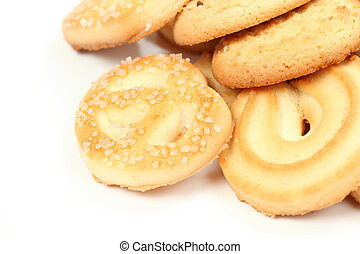 Closeup of cookies over white background