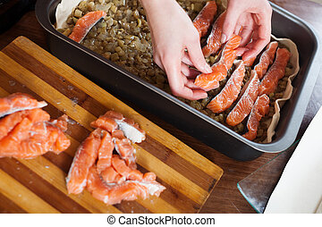Closeup of cooking fish pie with salmon