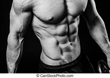 Closeup of cool perfect sexy strong sensual bare torso with abs pectorals 6 pack muscles chest black and white studio, horizontal picture