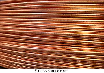 Closeup of copper cables on a reel.
