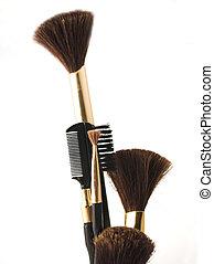 cosmetics brush - closeup of cosmetics brushes isolated on...