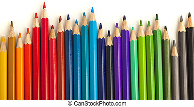 crayons - closeup of crayons on a white background