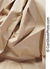 Kraft paper - closeup of crumpled Kraft paper