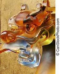closeup of crystal dragon's head