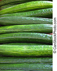 Closeup of Cucumbers in a Continental Market in England