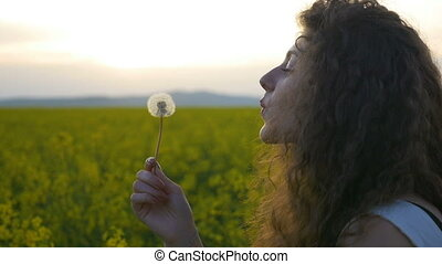 Closeup of curly girl blowing dandelion flower at sunset summer field in slow motion
