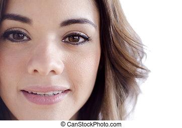 Closeup of cute young woman