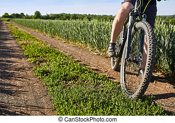 Closeup of cyclist man legs with mountain bike on outdoor trail in the summer field.