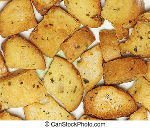 closeup of delicious bread croutons with isolated background