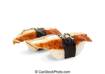 closeup of delicious japanese unagi sushi isolated on white