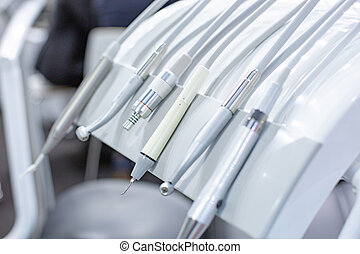 Closeup of dental drills in dentists office. Dentist workplace