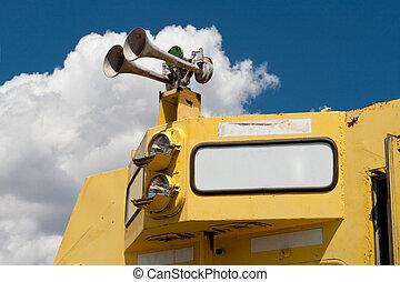 Closeup of Diesel Train Locomotive Airhorn Blank Sign -...