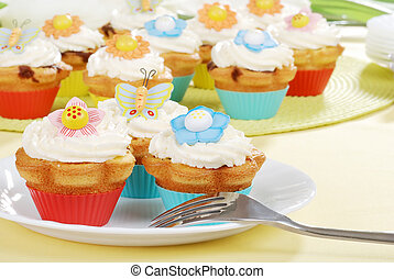 Easter cupcakes with a fork