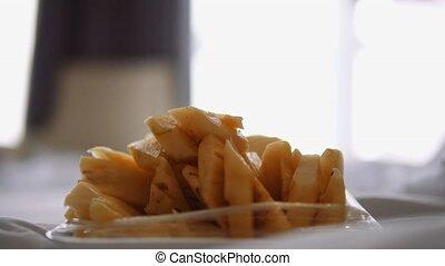 closeup of eating Pineapple