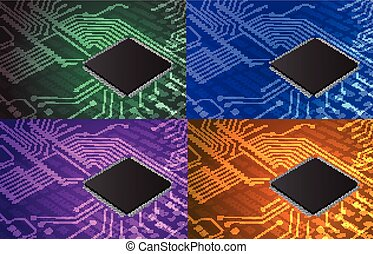 closeup of electronic circuit board with processor background