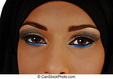 Closeup of eyes.