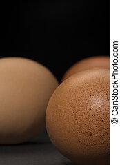 Closeup of farm fresh brown hens eggs