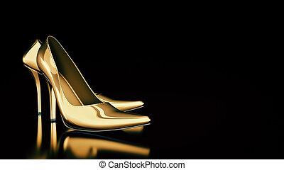 Closeup of female high-heeled shoes