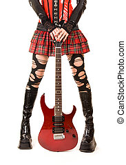 Closeup of female legs with guitar, isolated on white background