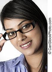 Closeup of Female Model wearing Framed glasses