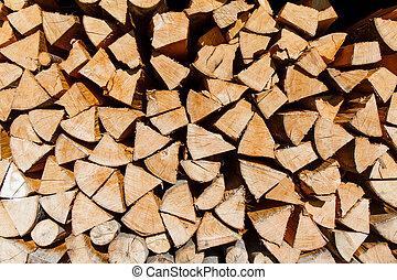 Closeup of firewood.