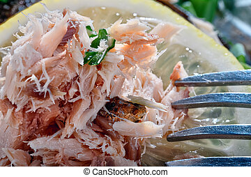 Closeup of fish baked in