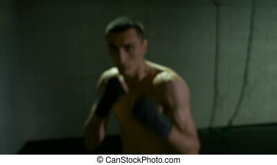 Closeup of fists punching of confident pugilist training...