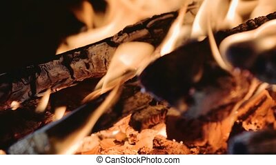 closeup of Flame in a fireplace, flames and burning woods